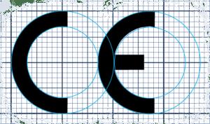 Marchio CE con griglia per proporzioni
